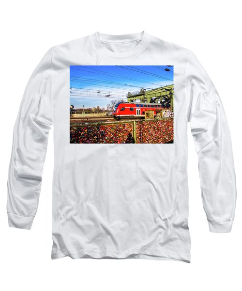 Red Train Long Sleeve T-Shirt by Cesar Vieira