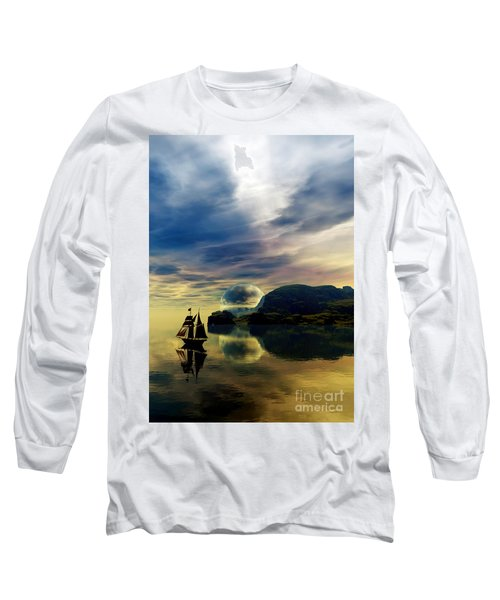 Long Sleeve T-Shirt featuring the digital art Reflection Bay by Sandra Bauser Digital Art