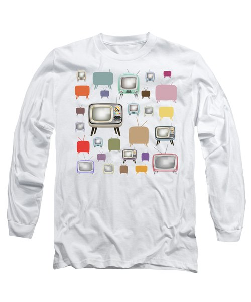 Long Sleeve T-Shirt featuring the painting Retro T.v. by Setsiri Silapasuwanchai