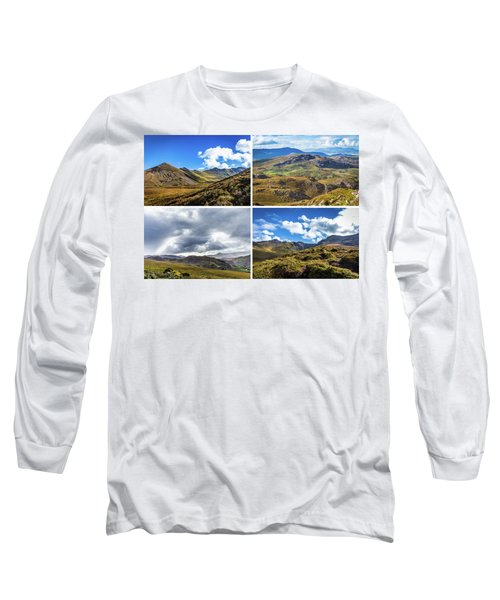 Postcard Of Rock Formation Landscape With Clouds And Sun Rays In Ireland Long Sleeve T-Shirt by Semmick Photo