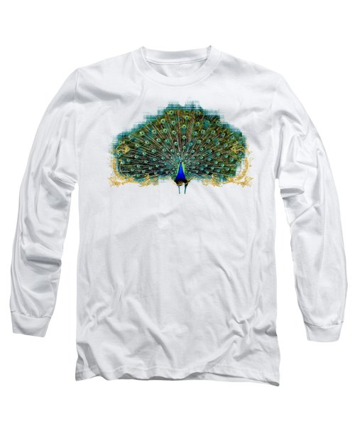 Scroll Swirl Art Deco Nouveau Peacock W Tail Feathers Spread Long Sleeve T-Shirt