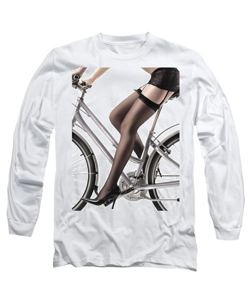 Sexy Woman Riding A Bike Long Sleeve T-Shirt