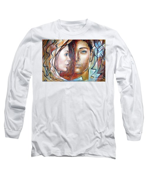 Long Sleeve T-Shirt featuring the painting She Loves Me 140709 by Selena Boron