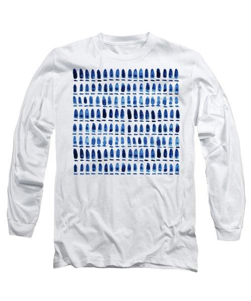 Shibori Blue 1 - Patterned Sea Turtle Over Indigo Ombre Wash Long Sleeve T-Shirt