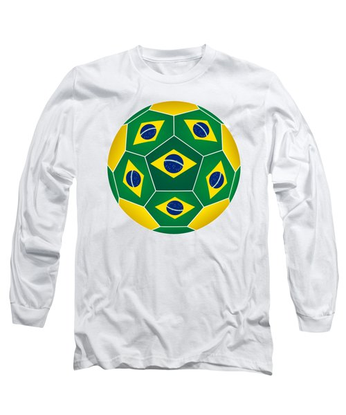 Soccer Ball With Brazilian Flag Long Sleeve T-Shirt