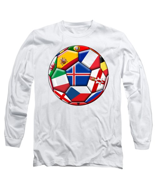 Soccer Ball With Flag Of Iceland In The Center Long Sleeve T-Shirt