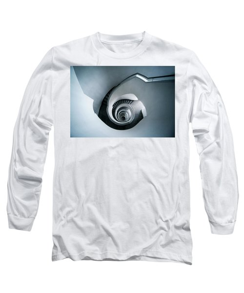 Spiral Staircase In Blue Tones Long Sleeve T-Shirt by Jaroslaw Blaminsky