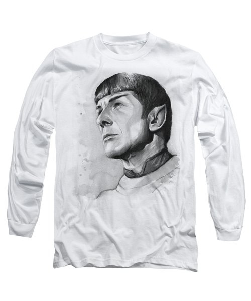 Spock Portrait Long Sleeve T-Shirt by Olga Shvartsur