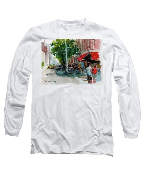 Streetscape With Red Awning - 82nd Street Market Long Sleeve T-Shirt