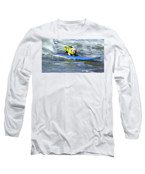 Long Sleeve T-Shirt featuring the photograph Surfing Dog by Thanh Thuy Nguyen