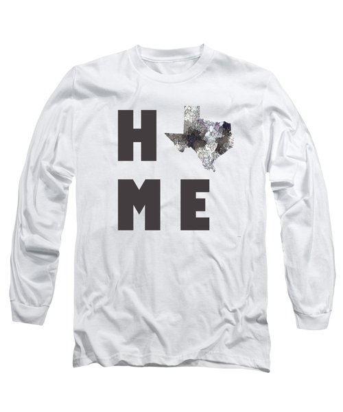 Long Sleeve T-Shirt featuring the digital art Texas State Map by Marlene Watson
