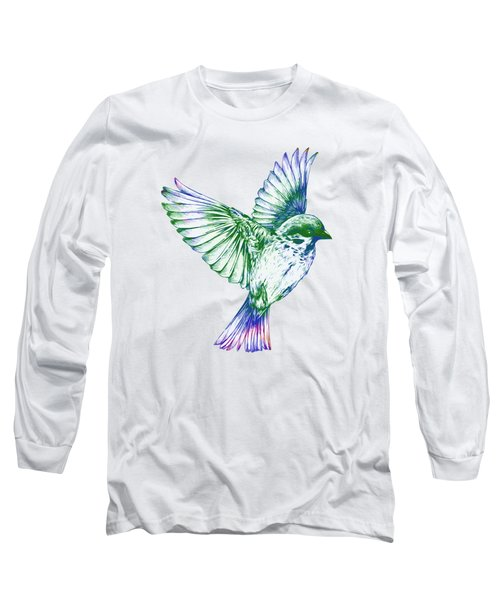 Textured Bird With Changeable Background Color Long Sleeve T-Shirt by Sebastien Coell