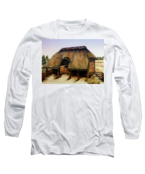 Thatched Barn Of Old Long Sleeve T-Shirt by Shari Nees