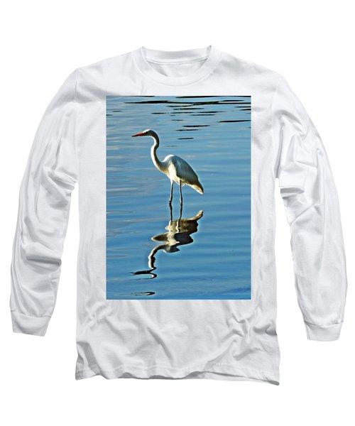 The Egret Long Sleeve T-Shirt by Allen Beilschmidt