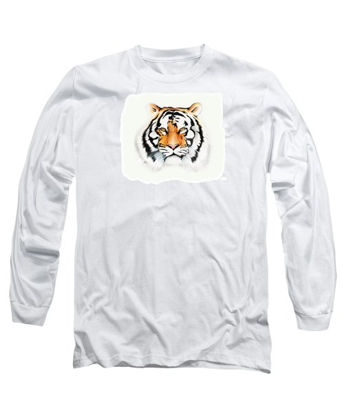 Long Sleeve T-Shirt featuring the drawing Tiger by Brian Gibbs