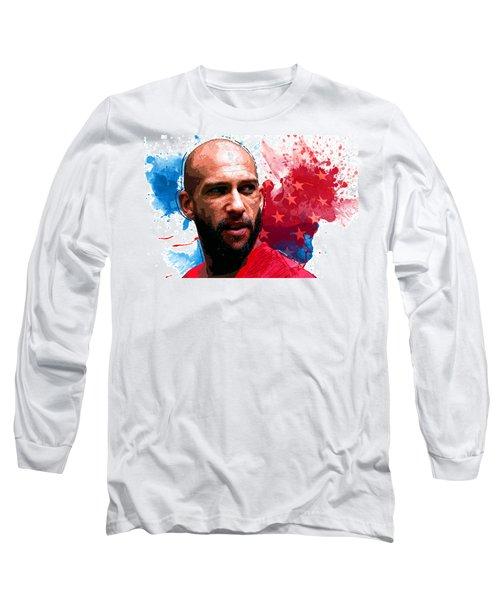 Tim Howard Long Sleeve T-Shirt by Semih Yurdabak