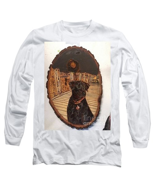 Long Sleeve T-Shirt featuring the pyrography Timber by Denise Tomasura