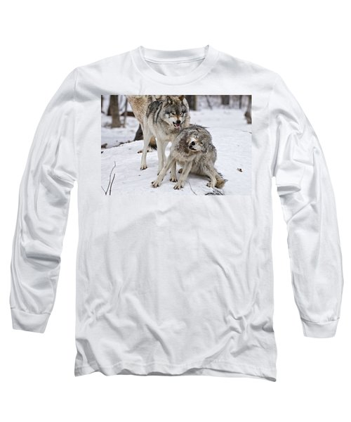 Long Sleeve T-Shirt featuring the photograph Timber Wolves In Winter by Michael Cummings