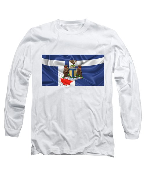 Toronto - Coat Of Arms Over City Of Toronto Flag  Long Sleeve T-Shirt by Serge Averbukh