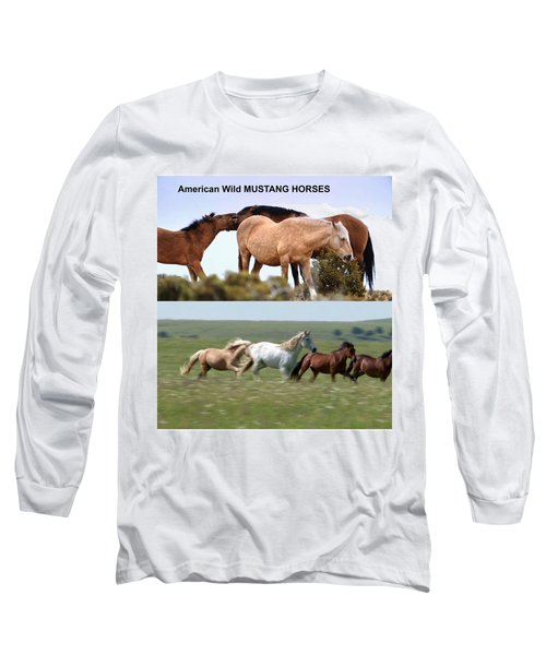 Twin Photos Awesome North American Mustangs Horses Cowboys Photography See On Posters Pillows Curtai Long Sleeve T-Shirt by Navin Joshi