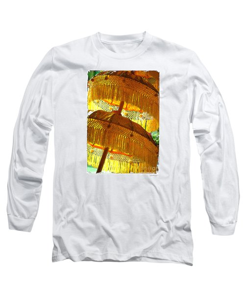 Long Sleeve T-Shirt featuring the photograph Umbrellas Yellow by Linda Olsen