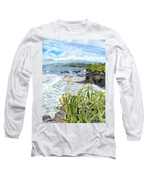 Long Sleeve T-Shirt featuring the painting View From Tanah Lot Bali Indonesia by Melly Terpening