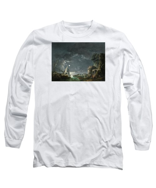 Long Sleeve T-Shirt featuring the painting View Of A Moonlit Mediterranean Harbor by Carlo Bonavia