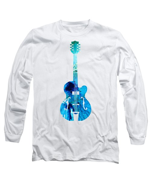 Vintage Guitar 2 - Colorful Abstract Musical Instrument Long Sleeve T-Shirt by Sharon Cummings