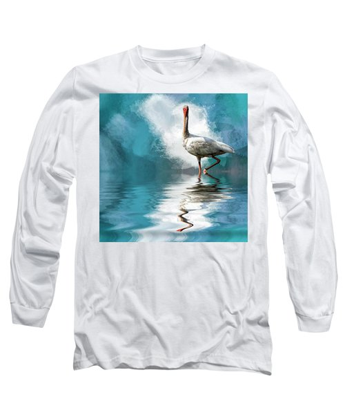 Wading Ibis Long Sleeve T-Shirt by Cyndy Doty