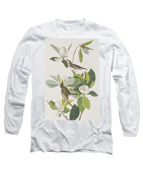 Warbling Flycatcher Long Sleeve T-Shirt by John James Audubon