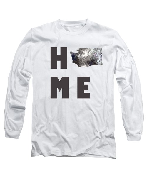Long Sleeve T-Shirt featuring the digital art Washington State Map by Marlene Watson