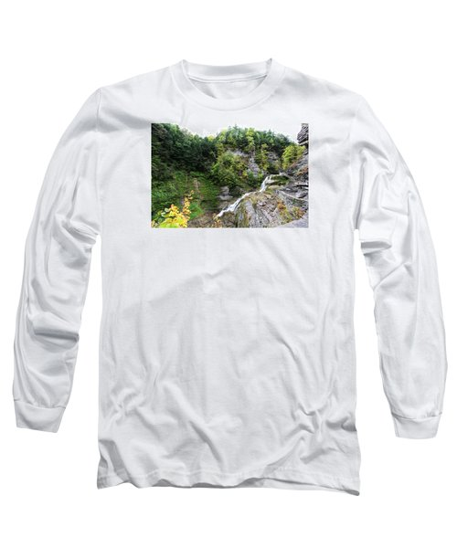 Long Sleeve T-Shirt featuring the photograph Waterfall At Robert Treman State Park II by Trina  Ansel