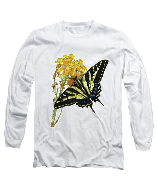 Western Tiger Swallowtail On A Western Wallflower Long Sleeve T-Shirt