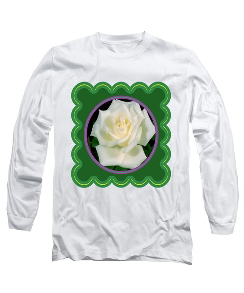 White Rose Flower Floral Posters Photography And Graphic Fusion Art Navinjoshi Fineartamerica Pixels Long Sleeve T-Shirt by Navin Joshi