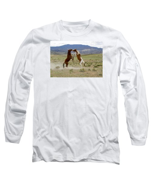 Wild Mustang Stallions Sparring Long Sleeve T-Shirt