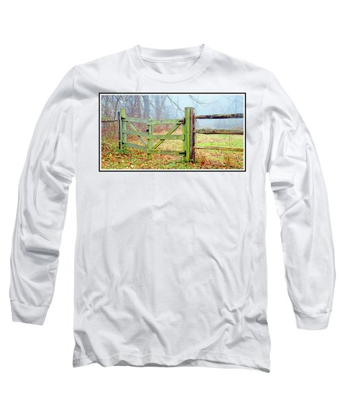 Wooden Fence On A Foggy Morning Long Sleeve T-Shirt by A Gurmankin