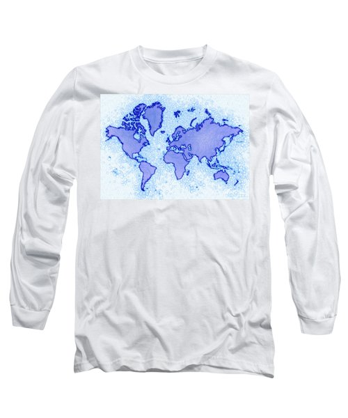 World Map Airy In Blue And White Long Sleeve T-Shirt by Eleven Corners