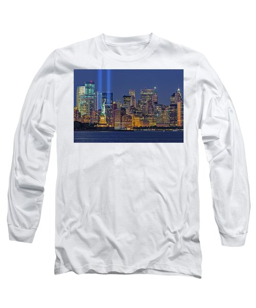 Long Sleeve T-Shirt featuring the photograph World Trade Center Wtc Tribute In Light Memorial II by Susan Candelario