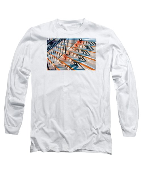 Long Sleeve T-Shirt featuring the photograph Zig Zag Shadows On Train Station Steps by Gary Slawsky