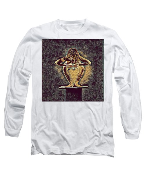 1083s-zac Dancer Squatting On Pedestal With Amulet Nudes In The Style Of Antonio Bravo  Long Sleeve T-Shirt by Chris Maher