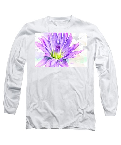 10889 Purple Lily Long Sleeve T-Shirt by Pamela Williams