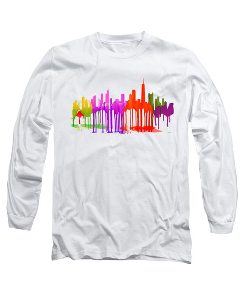 Chicago Illinois Skyline Long Sleeve T-Shirt by Marlene Watson
