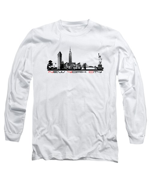 New York City Skyline  Long Sleeve T-Shirt by Justyna JBJart