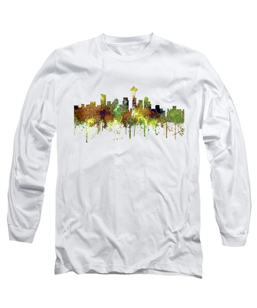 Seattle Washington Skyline Long Sleeve T-Shirt
