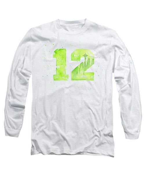 12th Man Seahawks Art Go Hawks Long Sleeve T-Shirt by Olga Shvartsur
