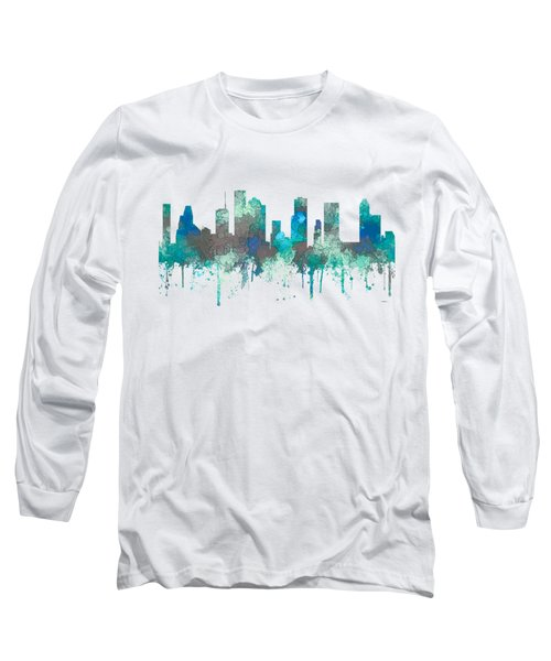 Long Sleeve T-Shirt featuring the digital art Houston Texas Skyline by Marlene Watson