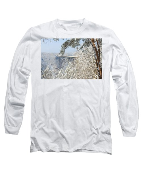 New River Gorge Bridge Long Sleeve T-Shirt by Mary Almond