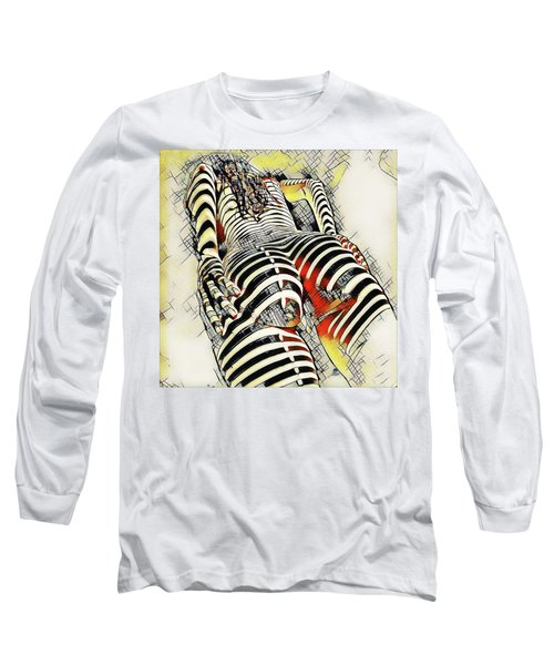 1457s-ak Rear View Nude Erotica In The Style Of Kandinsky Long Sleeve T-Shirt