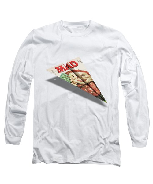 157 Mad Paper Airplane Long Sleeve T-Shirt by YoPedro