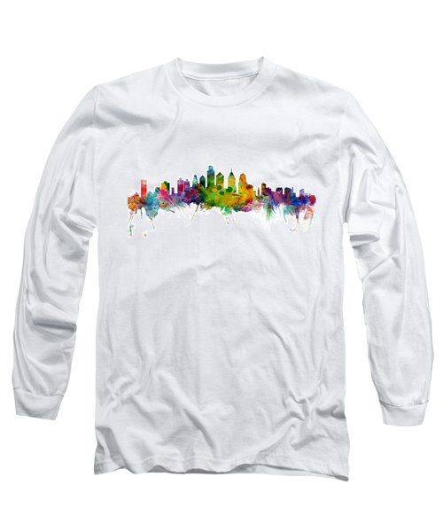 Philadelphia Pennsylvania Skyline Long Sleeve T-Shirt by Michael Tompsett